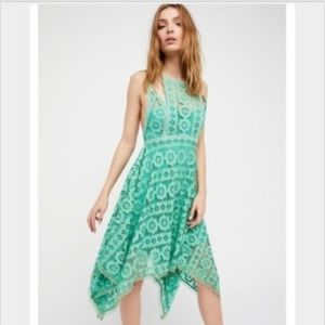 Free People Sz 2 Just Like Honey green lace dress